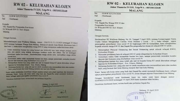 VIRAL Surat Imbauan RW 02 Klojen Malang Larang Tenaga Medis Kos, Berawal Temuan Tukang Sampah