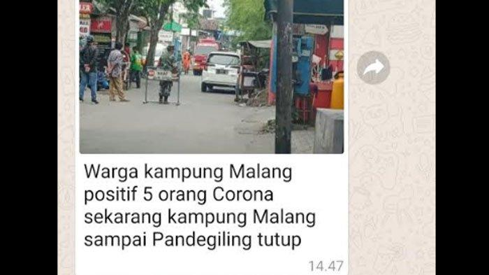 HOAKS 5 Warga Kampung Malang Surabaya Positif Covid-19, Kapolsek Tegalsari: Itu Digigit Anjing