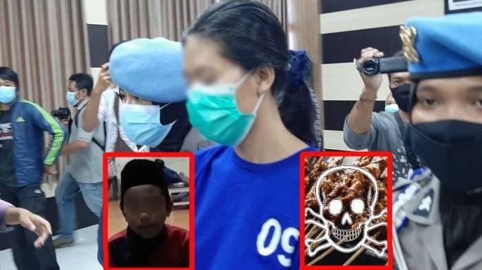 Tersangka pengiriman sate NA saat dihadirkan dalam konferensi pers Kepolisian Resor Bantul, Daerah Istimewa Yogyakarta, Senin (3/5/2021).