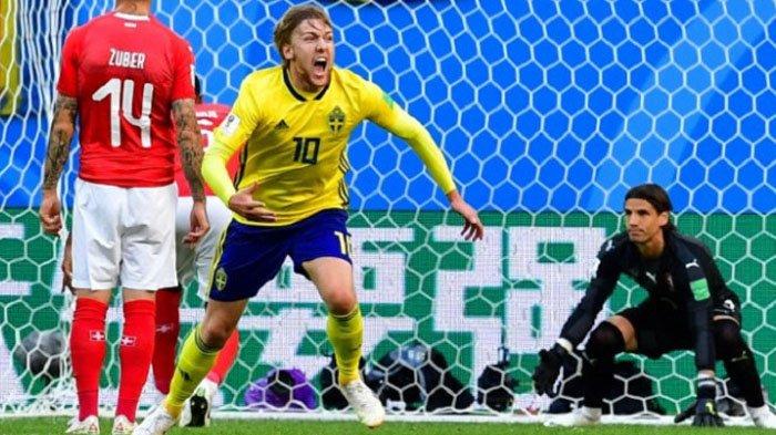 Swedia Vs Swiss, Gol Emil Forsberg Buat Swiss Tersingkir, Swedia Lolos ke Perempat Final