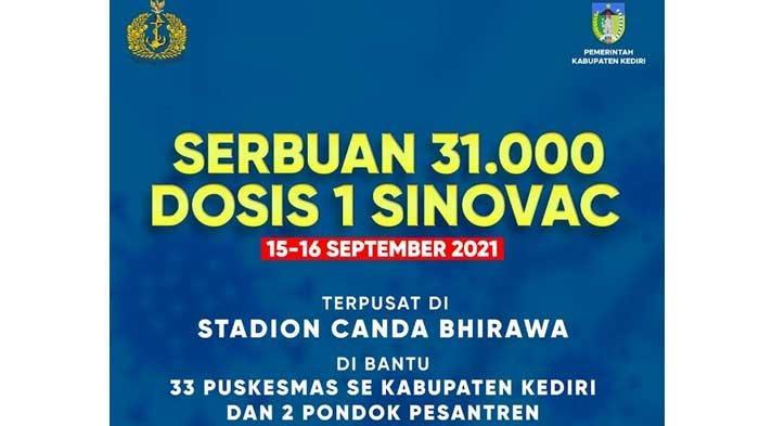 Jadwal Vaksinasi Covid-19 di Kabupaten Kediri Hari Ini, Sasar 31.000 Warga, Ini Lokasinya!