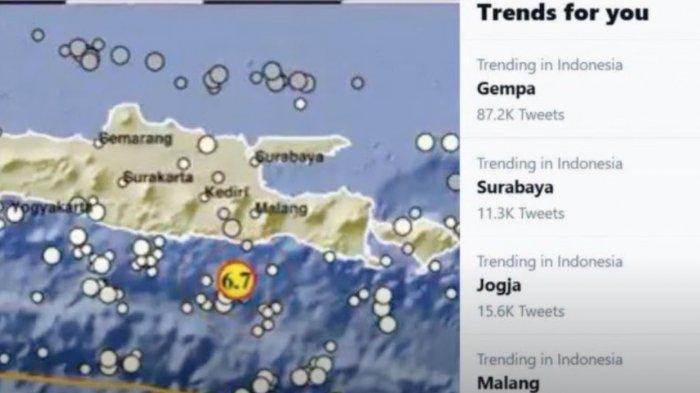 Trending topik Gempa di Malang ramai dibicarakan oleh netizen di media sosial.