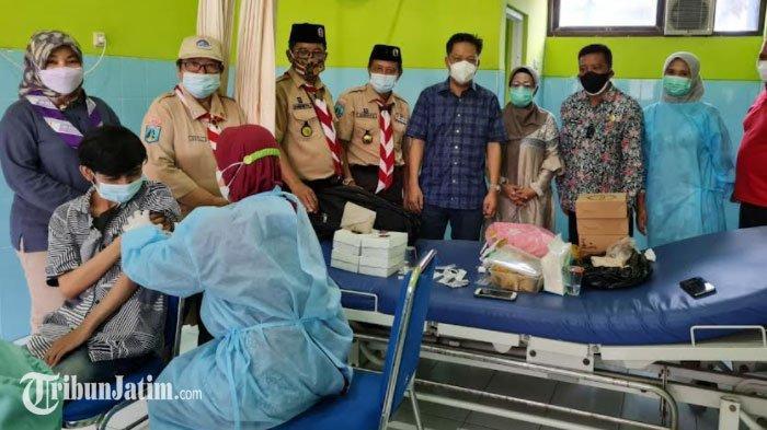 Ratusan Pramuka SMP dan SMA di Kota Mojokerto Disuntik Vaksin Covid-19, Wujudkan Herd Immunity
