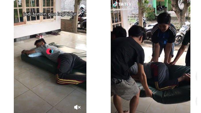 VIRAL Video Pemuda Tidur Tak Bangun-bangun, Akhirnya Dipindah ke Pinggir Jalan dengan Kasurnya
