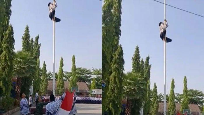 VIRAL VIDEO Siswa BojonegoroPanjat Tiang Bendera saat Upacara Hari Guru,Penyebabnya Terkuak