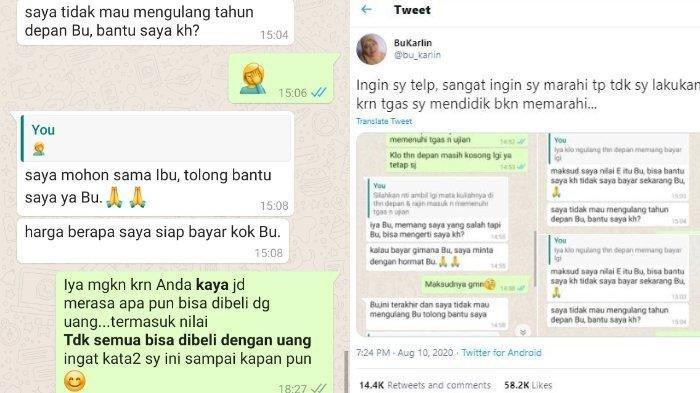 VIRAL Chat Bu Dosen Disogok Mahasiswa Kaya, 'Harga Berapa', Emosi Beri Pesan: Tak Semua Bisa Dibeli