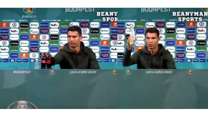 VIRAL Ronaldo Singkirkan Minuman Soda dan Pamer Air Mineral saat Konferensi Pers, Beda dengan Messi
