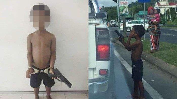 VIRAL Foto Pengemis Cilik Todongkan Pistol ke Pengendara Mobil di Lampu Merah, Polisi Turun Tangan