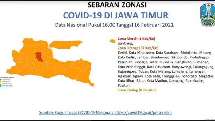 Sinyal Positif Keberhasilan PPKM di Jawa Timur: Zona Merah Covid-19 Tinggal Kabupaten Jombang