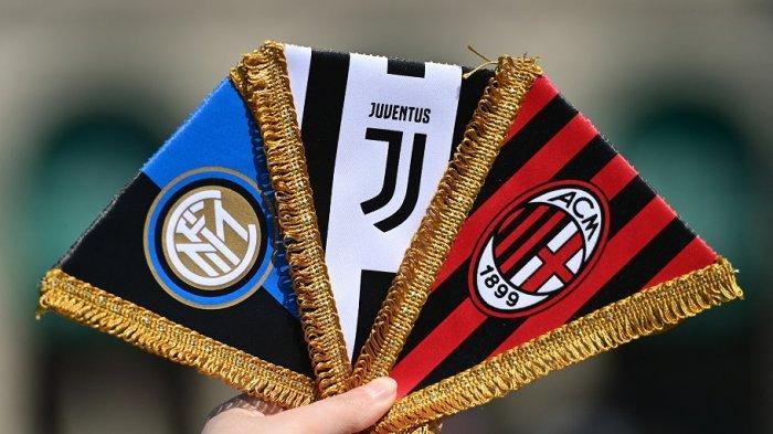 Logo tim Italia, Inter Milan, Juventus dan AC Milan yang akan berpartisipasi di Super League.