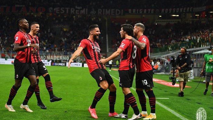 Selebrasi pemain AC Milan menyambut gol yang dicetak Sandro Tonali ke gawang Cagliari pada lanjutan Serie A di Stadion San Siro, Senin (30/8/2021) dini hari WIB.