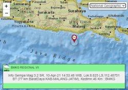 Gempa susulan pertama tercatat terjadi pada pukul 14.53 WIB