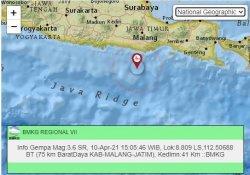 gempa susulan kedua yang dicatat BMKG terjadi sekira pukul 15.05 WIB