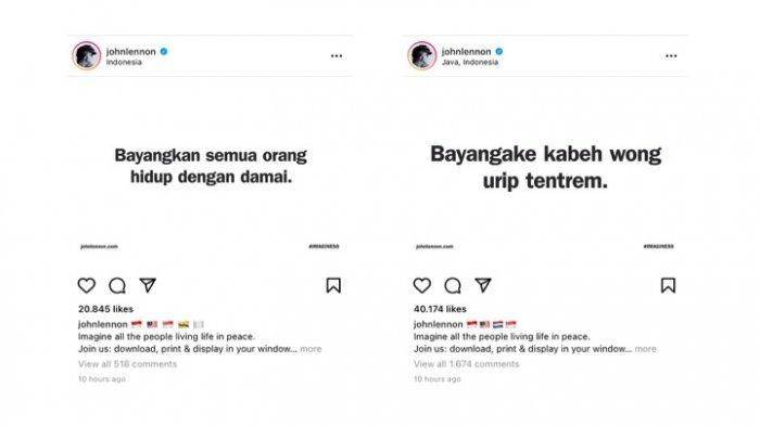 Ungahan berbahasa Indonesia dan Jawa di akun John Lennon.