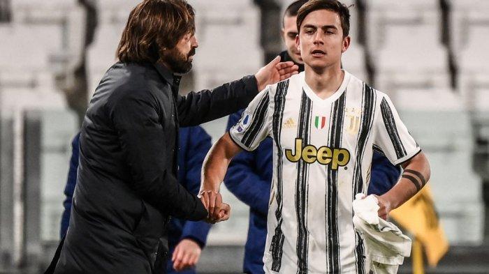 Andrea Pirlo dan Paulo Dybala di Liga Italia Serie A Juventus vs Napoli pada 7 April 2021 di stadion Juventus di Turin.