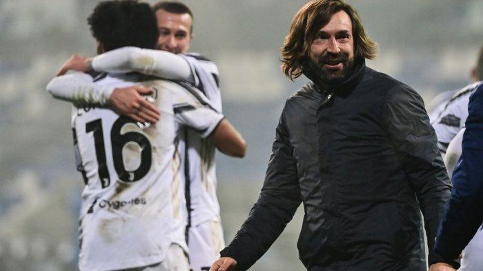 Andrea Pirlo merayakan kemenagan Piala Super Italia (Supercoppa italiana) Juventus vs Napoli pada 20 Januari 2021 di Stadion Mapei - Citta del Tricolore di Reggio Emilia.