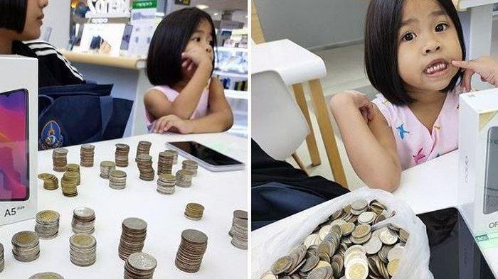 Viral Kisah Gadis Kecil Beli Handphone Pakai Setumpuk Uang Koin, Penjual Terkejut