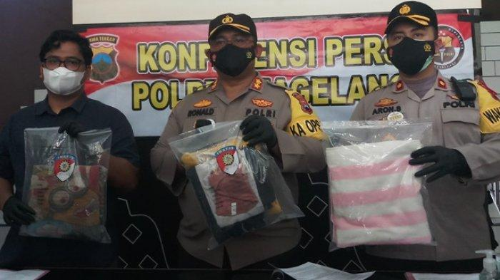 Jajaran Polres Magelang menunjukkan barang bukti yang berhasil disita dari pelaku aborsi, pada Selasa (11/05/2021) /Tribunjogja/Nanda Sagita Ginting