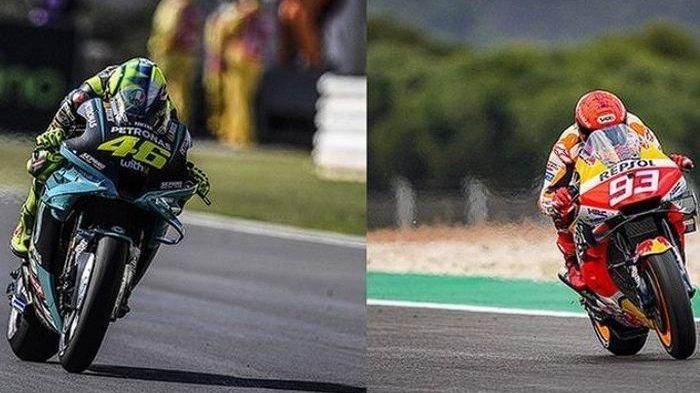 Kolase foto Valentino Rossi dan Marc Marquez, MotoGP