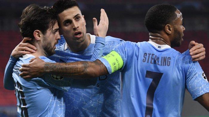 Bernardo Silva merayakan gol pertama Liga Champions UEFA, Borussia Moenchengladbach vs Manchester City di Puskas Arena di Budapest pada 24 Februari 2021.