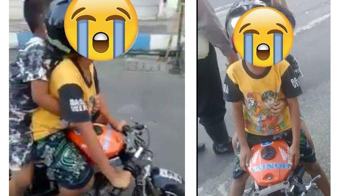 Viral Dua Bocah TK Nangis Kencang Ditilang Polisi karena Naik Motor Mainan, Begini Akhir Ceritanya