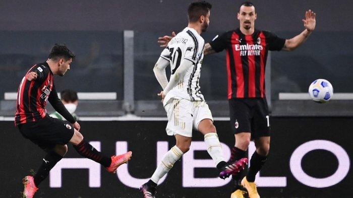 Brahim Diaz mencetak gol di LIga Italia Serie A Juventus vs AC Milan pada 09 Mei 2021 di stadion Juventus di Turin.