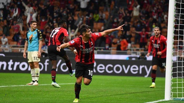 Selebrasi Brahim Diaz usai mencetak gol ke gawang Venezia pada lanjutan Serie A di Stadion San Siro, Kamis (23/9/2021) dini hari WIB.