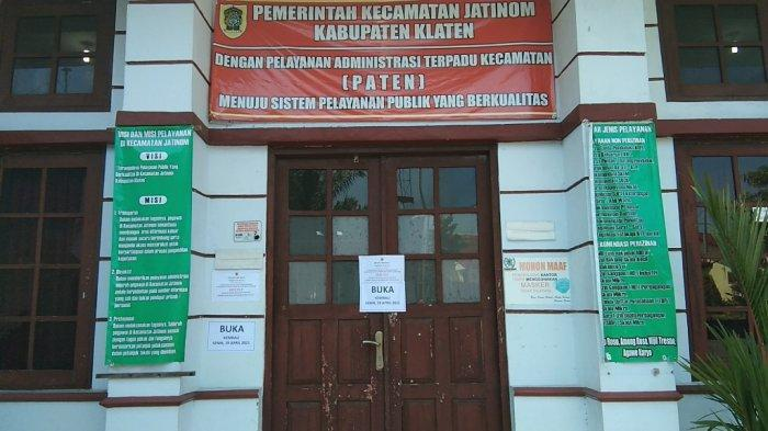 BREAKING NEWS : Ada Pegawai Reaktif COVID-19, Kantor Camat Jatinom Klaten Ditutup Sementara