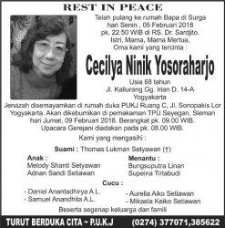Berita Duka Cita : Cecilya Ninik Yosoraharjo