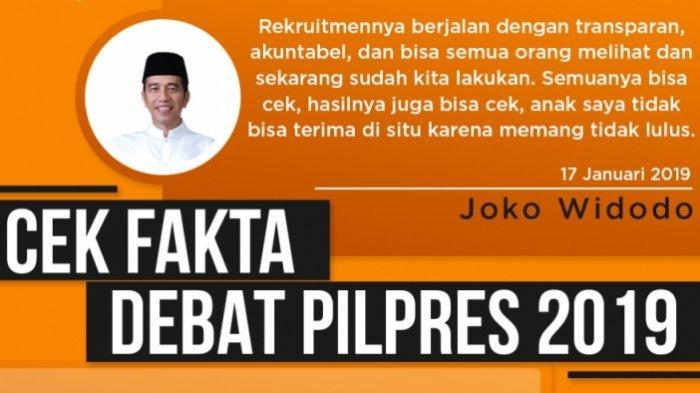 CEK FAKTA Debat Capres : Kok, Anak Presiden Jokowi Tidak Lulus Tes CPNS?