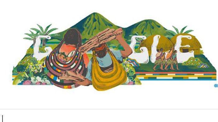 Google Doodle mengangkat tema erayakan Warisan Budaya Noken Papua .