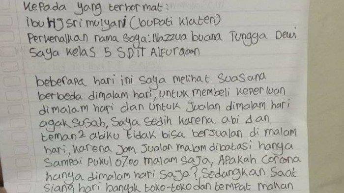 Cerita Siswa SD Tulis Surat Terbuka untuk Bupati Klaten Karena Ayahnya Tak Bisa Jualan Selama PPKM