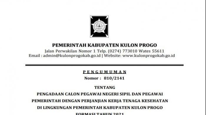 Banyak Peluang untuk Nakes, Pemkab Kulon Progo Buka 263 Formasi PPPK 2021