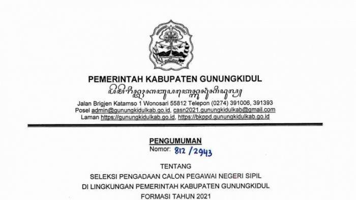 SYARAT Pelamar CPNS 2021 Pemkab Gunungkidul