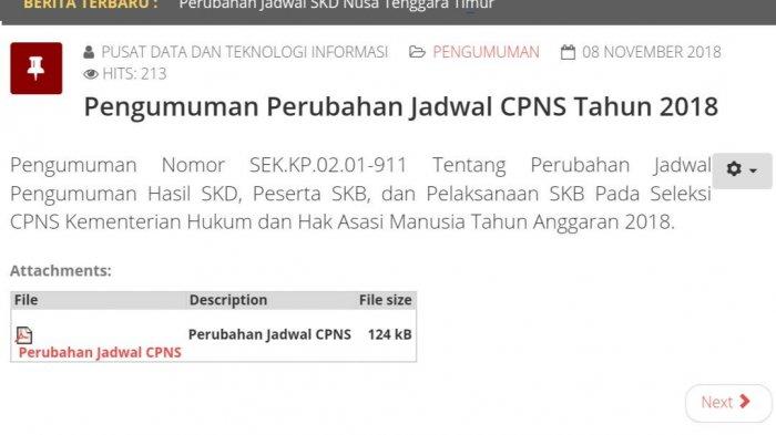 Pengumuman Jadwal Hasil SKD CPNS Kemenkumham,  Informasi di cpns.kemenkumham.go.id
