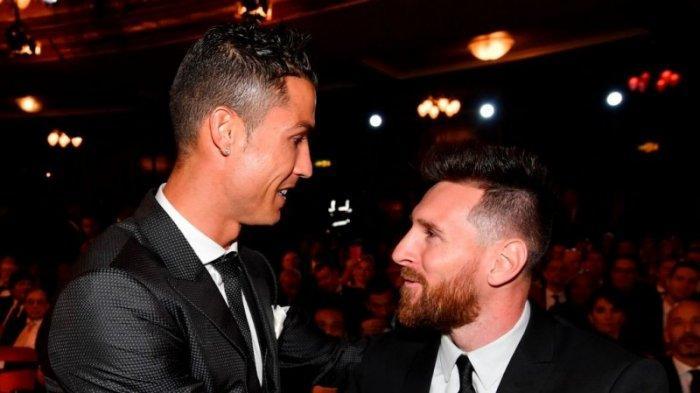 Cristiano Ronaldo dan Lionel Messi saat bertemu