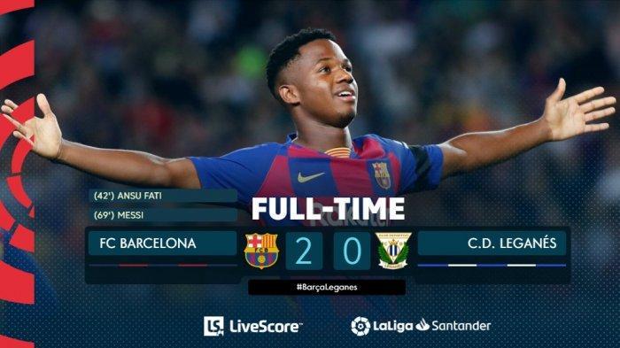 Cuplikan Gol Ansu Fati dan Messi Kalahkan Leganes Pekan Pekan ke-29 Laliga