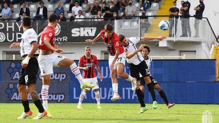 Daniel Maldini mencetak gol pertama dalam debutnya sebagai starter di laga Spezia vs AC Milan