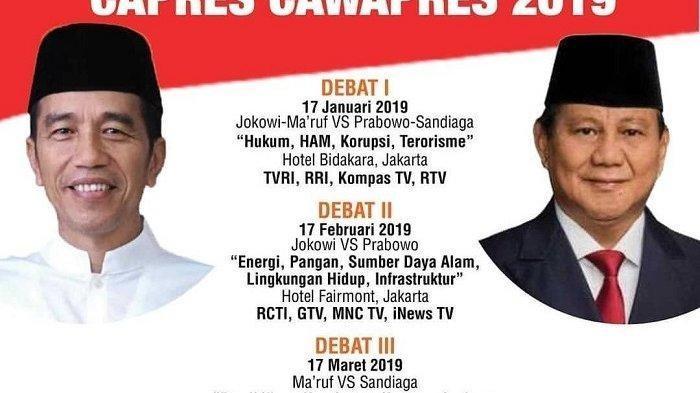 Debat Capres Putaran Kedua Jokowi vs Prabowo - Rincian Tiap Segmen, Tema, Aturan dan Siaran Langsung