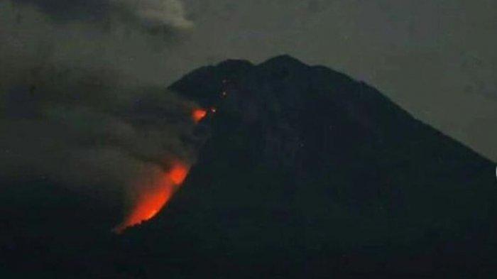 ILUSTRASI - Dok kompas.com Tangkapan layar akun Instagram resmi TNBTS yang menunjukkan luncuran lava pijar di Gunung Semeru.