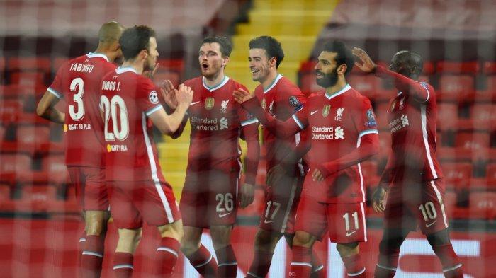 Diogo Jota, Mohamed Salah, Sadio Mane, Curtis Jones, Andrew Robertson, dan Fabinho saat selebrasi gol Liverpool vs Ajax di Liga Champions