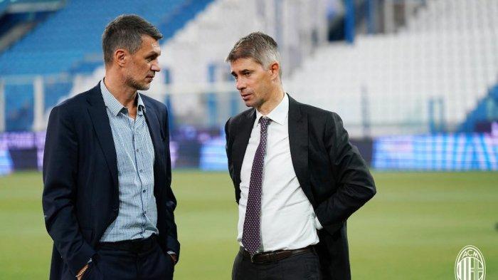 Direktur teknik Paolo Maldini dan direktur olahraga AC Milan, Ricky Massara