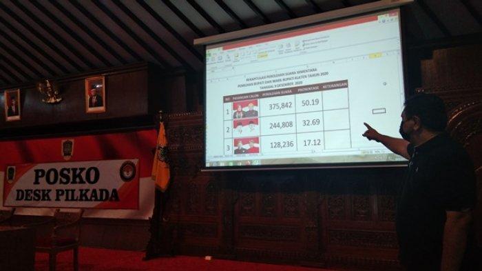 Sekretaris Kantor Kesatuan Bangsa dan Politik (Kesbangpol) Kabupaten Klaten, Dodhy Hermanu saat menunjukkan hasil penghitungan suara Pilkada Klaten versi Desk Pilkada Pemkab Klaten, Rabu (9/12/2020) malam.
