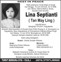 Berita Duka Cita : Lina Septianti ( Tan May Ling )