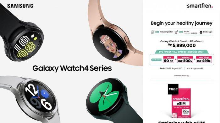 Smartfren eSIM Bundling Samsung Galaxy Watch4 Classic LTE, Kuota Melimpah 90 GB