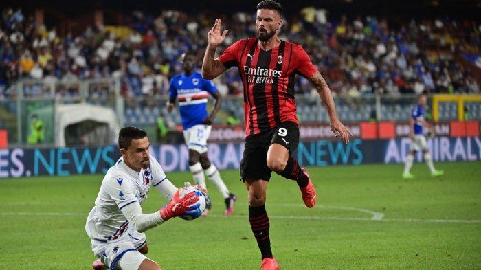 Emil Audero vs Olivier Giroud di Liga Italia Serie A antara Sampdoria vs AC Milan di stadion Luigi Ferraris di Genova pada 23 Agustus 2021.
