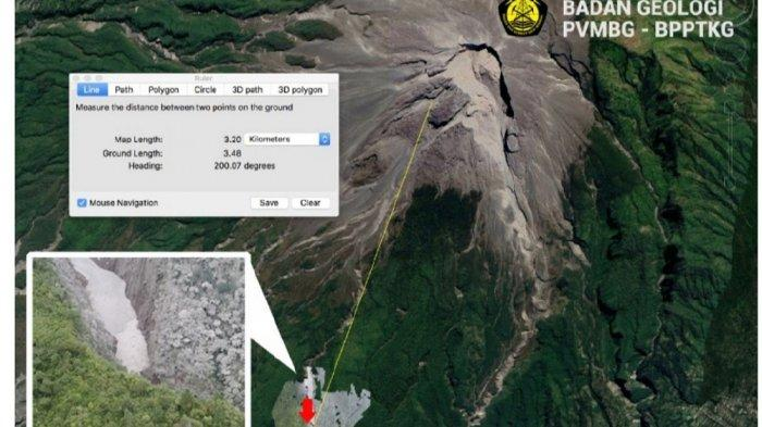 Foto drone yang menunjukkan jarak luncur maksimal dan titik akhir awan panas guguran Gunung Merapi sejauh 3.500 meter arah Kali Boyong dan terekam pada seismogram dengan amplitudo maksimal 70 mm dan durasi 240 detik.