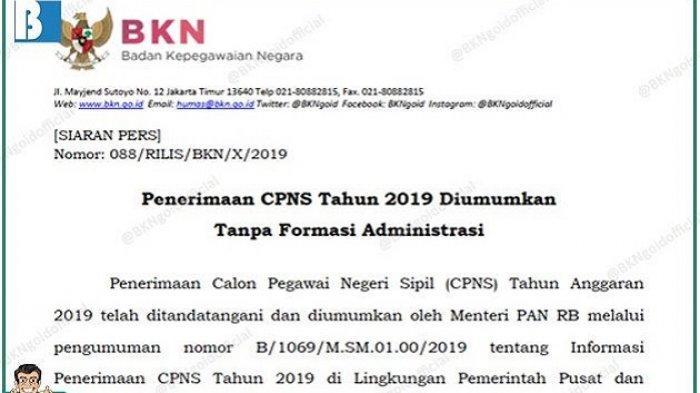 UPDATE Pendaftaran CPNS Resmi Dibuka di sscasn.bkn.go.id, Ini Daftar Lengkap Lowongan di 68 Instansi