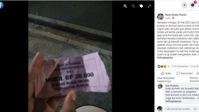 Screenshot unggahan Rena Deska Physio di Facebook yang mengeluhkan tarif parkir mahal di sekitar Titik Nol KM, Yogyakarta