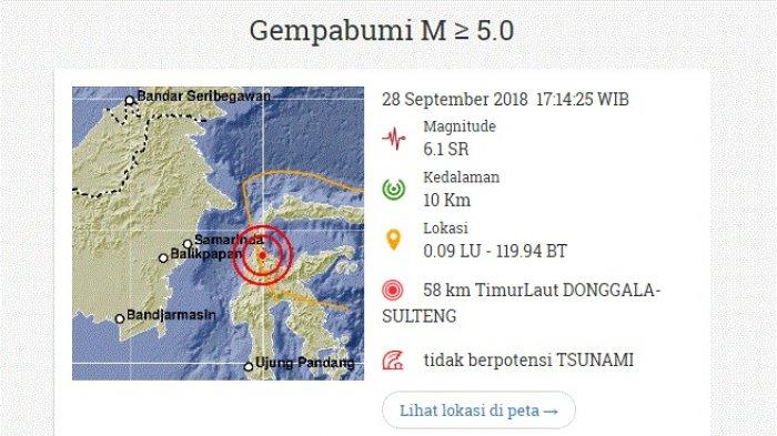 Info BMKG, Gempa Bumi Guncang Donggala Sulawesi Tengah